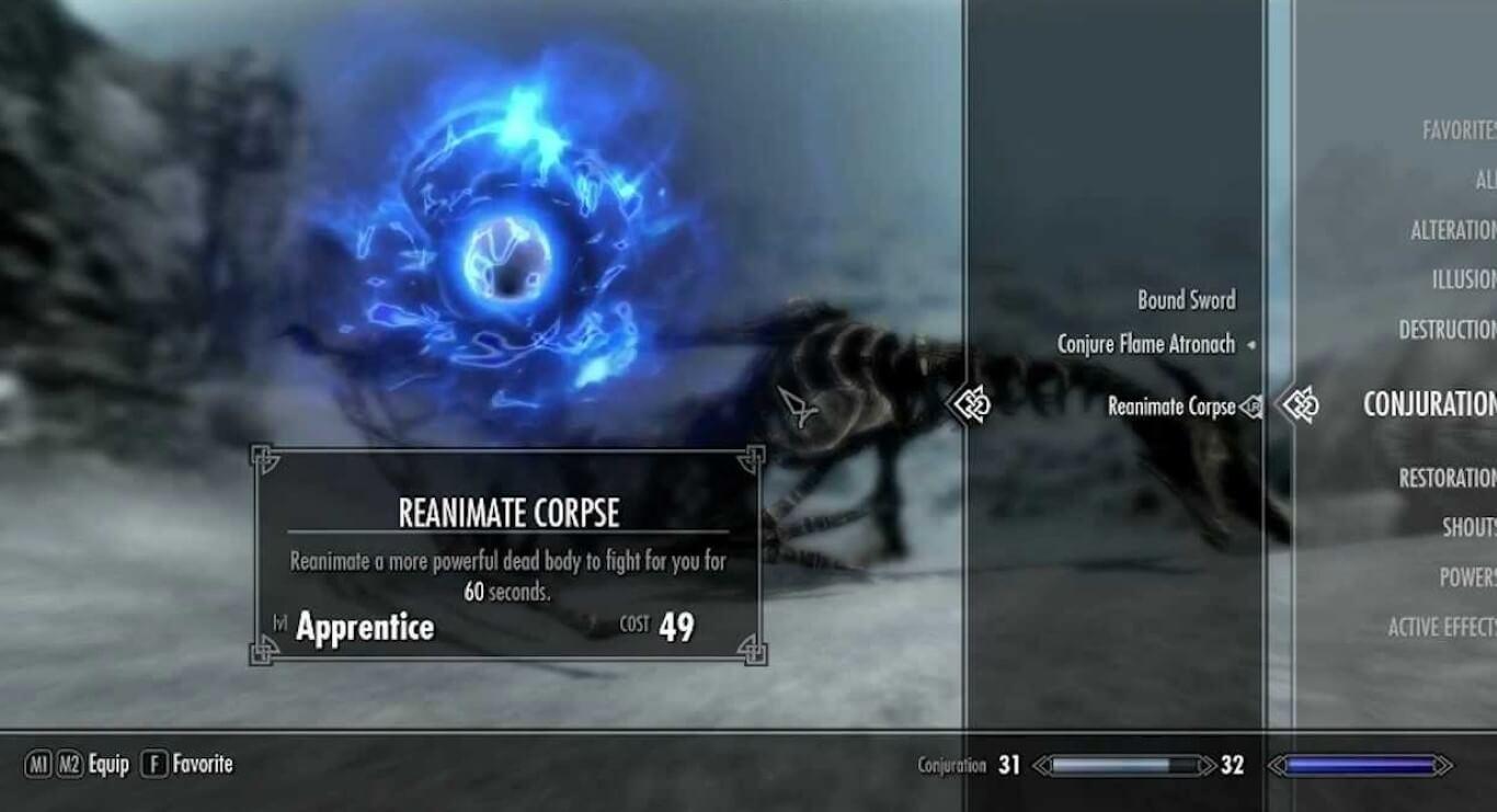 Reanimate Corpse spell skyrim